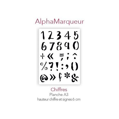 Pochoir AlphaMarqueur Chiffres