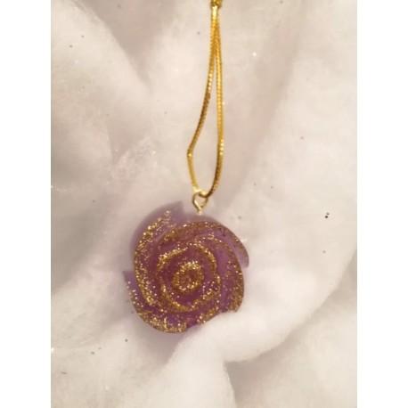 Rose violette paillette or
