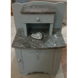 Chevet gris avec marbre gris noir