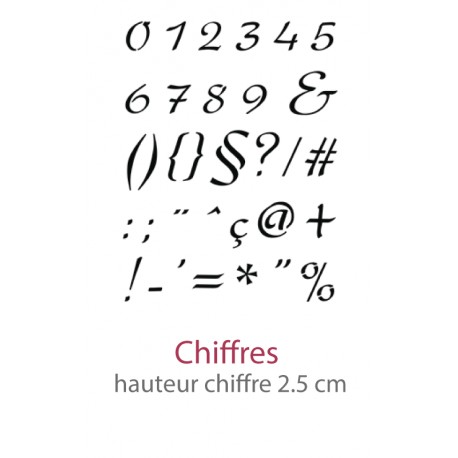 Pochoir Alphabet Camaelle Chiffre