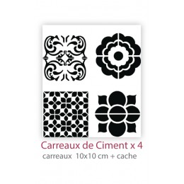 Pochoir Carreaux de Ciment x4