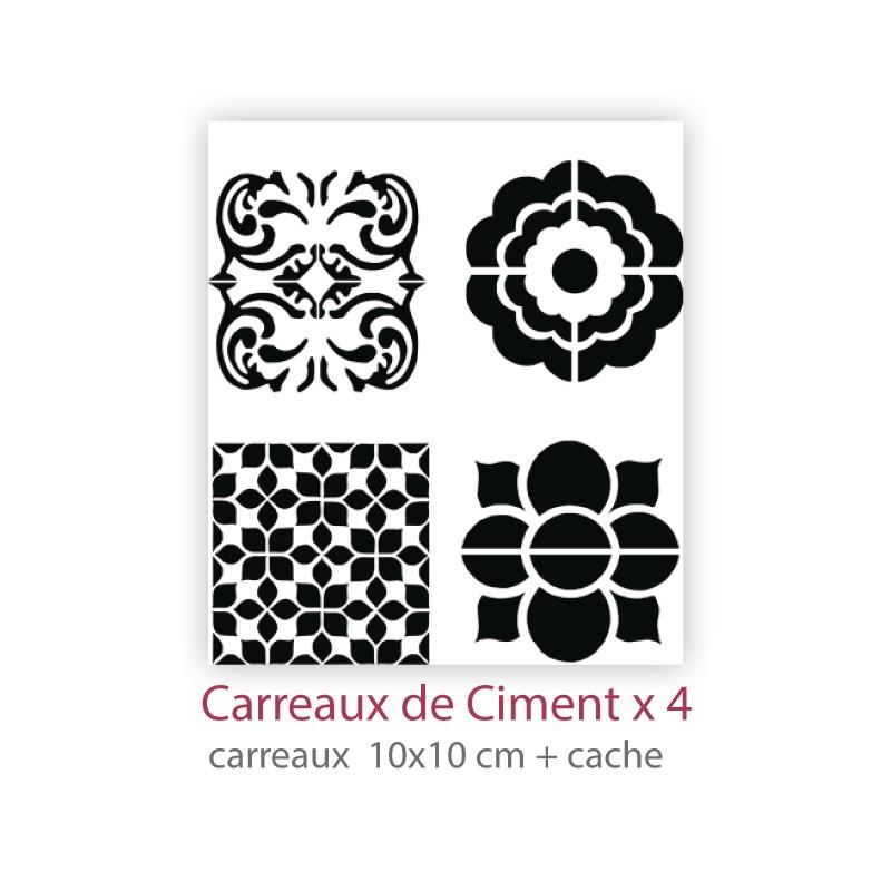 pochoir carreaux de ciment x4 la boutique de janig. Black Bedroom Furniture Sets. Home Design Ideas
